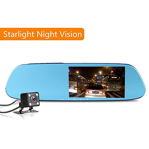1080P Starlight Night Vision Dash Cam with ADAS, FHD Mirror Dual Dashboard Camera Drive Recorder with G-sensor, Loop recording, LDWS ADAS Detector