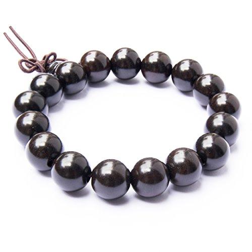 Tucanox Natural Ebony Wood Round Rosary Bead Stretch Bracelet - 108 Japa Mala Beads Tibetan Buddhist Prayer Chain Necklace for Men & Women - 12mm (17 beads)