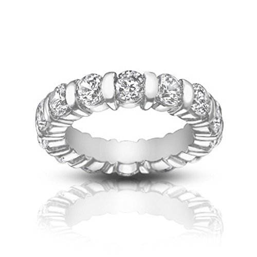 (5.00 ct Ladies Round Cut Diamond Eternity Band Ring In Bar Setting in 14 kt White Gold In Size 4)