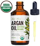 Moroccan Argan Oil, USDA Certified Organic, Virgin, 100% Pure, Cold Pressed by Kate Blanc. Stimulate Growth for Dry and Damaged Hair. Skin Moisturizer. Nails Protector.