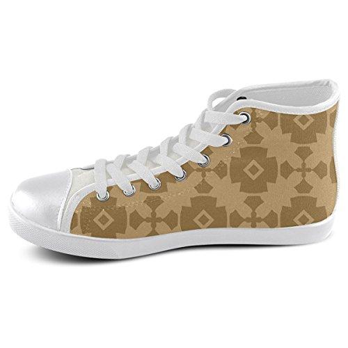 Artsadd Aangepaste Donkerbruin Geometrische Tegel Patroon Hoge Top Canvas Schoenen Voor Mannen (model002)