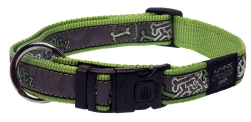 Rogz Fancy Dress Extra Large 1-Inch Armed Response Dog Collar, Lime Bone Design