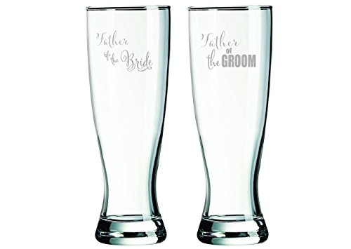 23 oz. Father of the Groom and Father of the Bride Pilsner glass set by C&M Personal Gifts