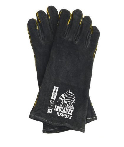 WOOD BURNING STOVE/WELDING GLOVES - BLACK- 100% GENUINE LEATHER BBQ STOVE  ACCESSORIES - LIGHT GREEN WOODBURNER GLOVES HIGH TEMPERATURE STOVE LONG