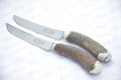 Two Extra Large Genuine Stag Horn/Antler Handle Steak Knife Made In Sheffield England Stamped Sheffield England