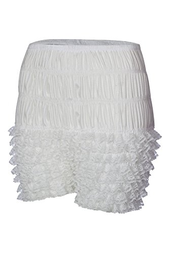 Minyue Women Sexy Ruffled Lace Panties Sissy Pettipant Dance Bloomers Frilly Shorts (White, (Lace Ruffled Bloomers)