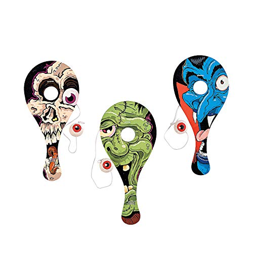 Fun Express - Eyeball Catch Paddleball Games for Halloween - Toys - Value Toys - Paddle Balls - Halloween - 12 -
