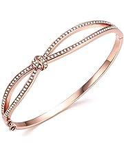 Angelady Princess Waltz of Love 14K Rose Gold Plated Bangle Bracelets Fashion Jewelry Charm Women Wife Girl Gift Bracelet - Gift for Lover