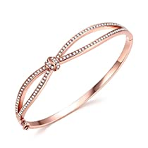 Angelady Princess Waltz of Love 14K Rose Gold Plated Bangle Bracelets with Swarovski Crystal Fashion Jewelry Charm Women Wife Girl Gift Bracelet - Gift for Lover