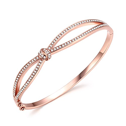 Swarovski Gold Ribbon - Angelady Rose Gold Plated Infinity Bracelets Endless Love 7 Inch Bangle Bracelets Gift for Girlfriend Women Mom Crystals from Swarovski Graduation Wedding Present Girl Birthday Gifts (Rose Gold)