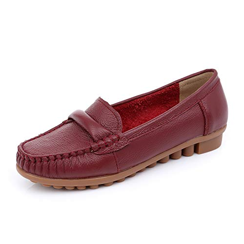 casual single low heel work wine slip Red comfortable fashion shoes Leather shoes shoes flat shoes ladies women pregnant non shoes FLYRCX 4gYfqwn