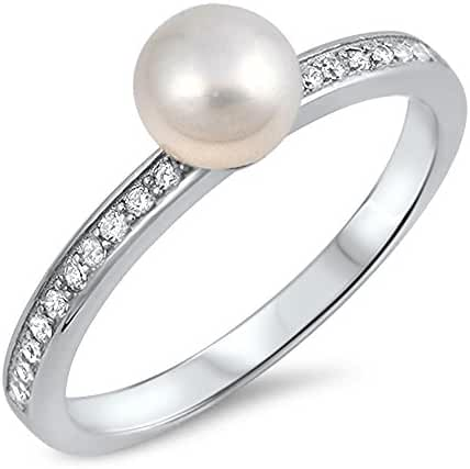 Sterling Silver Freshwater Cultured Pearl & CZ Ladies Ring 6mm ( Size 5 to 10 )
