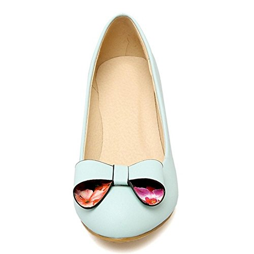TAOFFEN Wedge Blue Court Heels Shoes 44 Women's ZOwZrqg