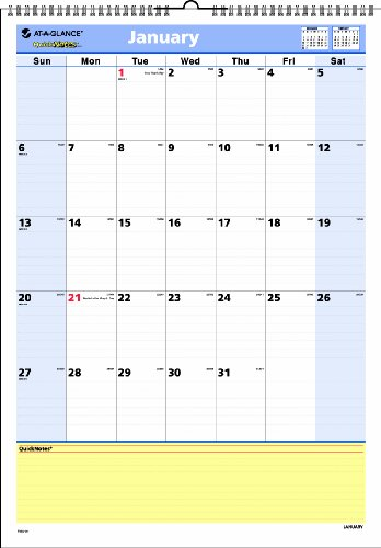 (AT-A-GLANCE 2014 QuickNotes Monthly Wall Calendar, 12 x 17 Inches (PM52-28))