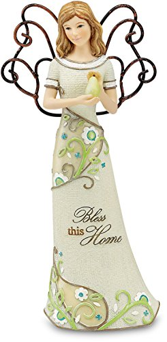 Perfectly Paisley Bless This Home Angel Figurine by Pavilion, Holding Pear, 6-Inch ()