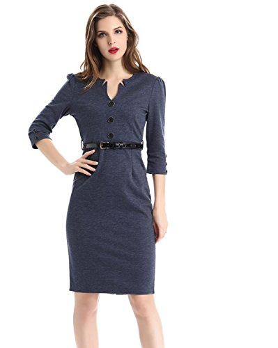 Dünnes Dünnes Professionelles Kleid,Navy Blau,Xxl