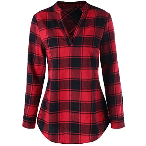 BEAUTYVAN Henley Shirts for Women, Ladies Plaid Long Sleeve V-Neck Shirt Tops Curved Hem Tunic Blouse Red