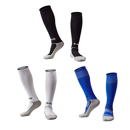 - Welltree Boys & Girls Knee High Cotton Soccer Socks/Kids Football Sport Long Socks (Kid/Youth)/3 Pack Black White Blue