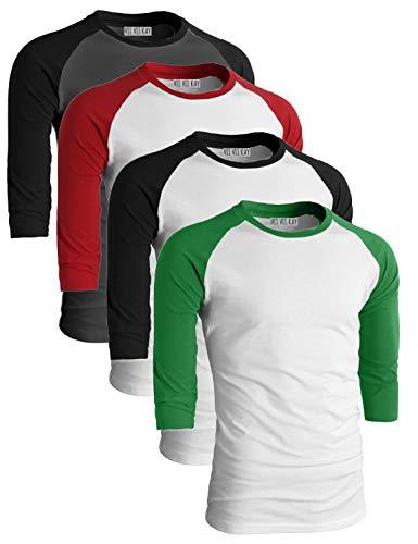 ViiViiKay Men's 4 Pack Comfy Casual Baseball Raglan Cotton 3/4 Sleeve Shirt CHABLK_WHTRED_WHTBLK_WHTGRN_3XL