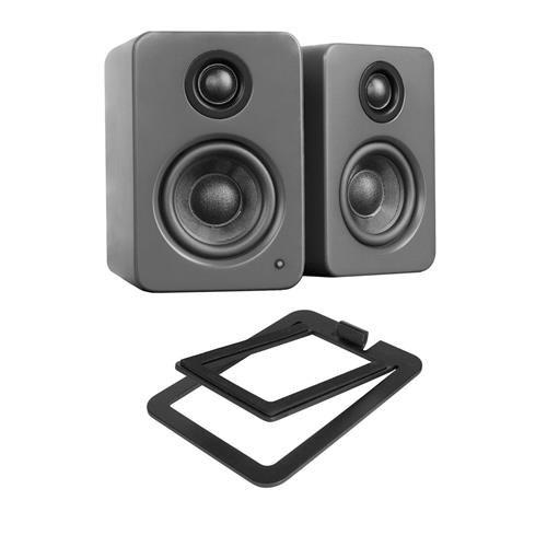Kanto YU2 2x 25W RMS Powered Desktop Speakers, Pair, Matte Gray - With Short Title S2 Desktop Speaker Stands, Pair, (4x10' 2 Way Speakers)