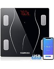 Körperfettwaage, YOUNGDO Bluetooth Personenwaage mit APP, Smart Digitale Waage mit USB Aufladen/23 Daten in der Amazon Cloud Gespeichert wie Körperfett, BMI, BMR, Gewicht, Wasser, usw