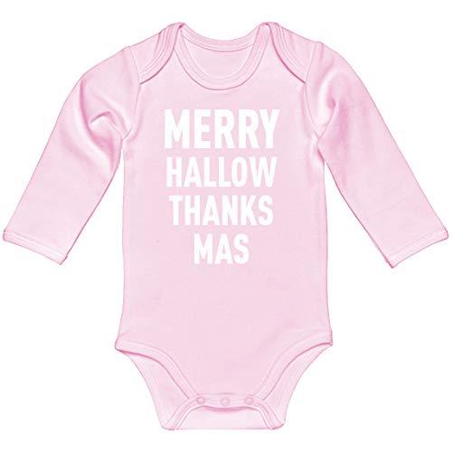 Baby Romper Merry Hallow Thanks Mas Light Pink for Newborn Long-Sleeve Infant Bodysuit