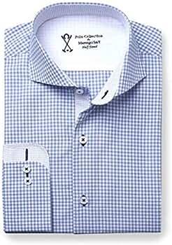 Camisa de Vestir Manga Larga Semi-Entallada, con Cuadros Vichy de ...