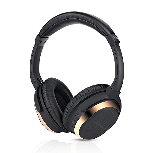 ANCDEEP Active Noise Cancelling Wireless Headphones, Lightweight Over-Ear Bluetooh Headset with Built-in Microphone and Volume Control (Elegant Rose Gold)