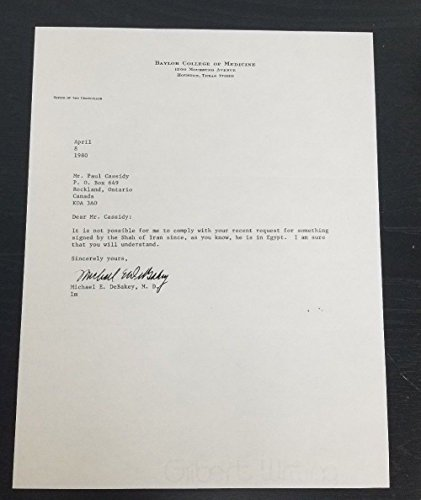 """""""Heart Transplant Surgeon"""" Michael E. DeBakey Signed Letter JG Autographs COA from Unknown"""