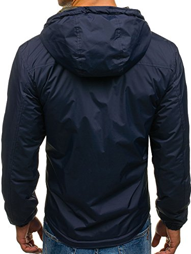 Transitional Military navy Camo 4818 Casual Plain Mix Ribbed Hood Zip Jacket Sport Blue Men's 4D4 Outdoor BOLF 5wOax0n