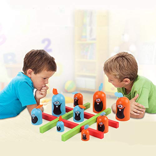 Theshy Skill Building Educational Toy Indoor Gobblet Gobblers Board Game Toy for Kids Wooden Ring Educational Toy