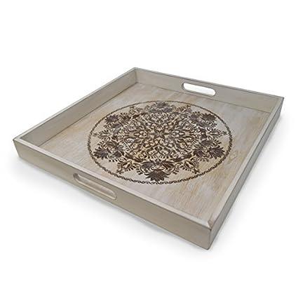 gbhome gh-6793 bandeja decorativa de madera con grabado arte, Otomano bandeja de desayuno