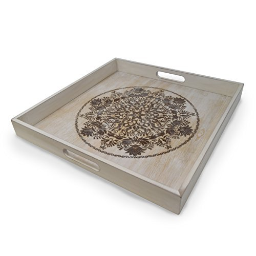 gbHome GH-6793 Decorative Wooden Serving Tray With Engraved Art, Ottoman Breakfast Tray For Carrying Drinks Letters Mail, 15.75 x 15.75 in (40 x 40 cm) Display Piece, Rustic Antique Distressed Look
