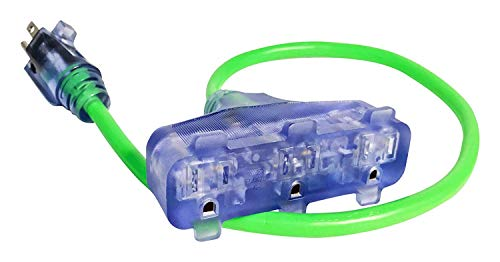 - Bold 50032 Tri Green 2-Foot Lighted Triple Tap CGM Extension Cord Plug Adapter,