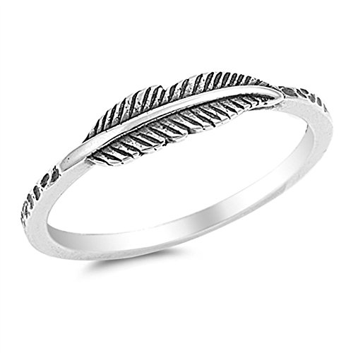 Oxidized Leaf Fashion Feather Ring New .925 Sterling Silver Band Size 8 (Tree Ring Sterling Silver)
