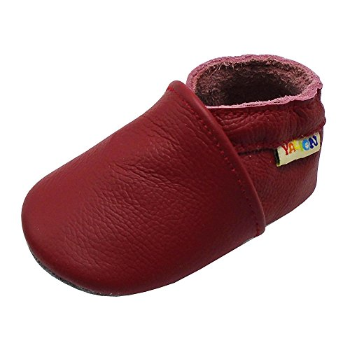 (Yalion Baby Boys Girls Shoes Crawling Slipper Toddler Infant Soft Leather First Walking Moccs(Red,18-24 Months))