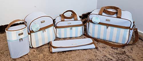 Kit de Bolsas Maternidade com Mochila Listrada Térmico Impermeável Cor: Azul Bebê