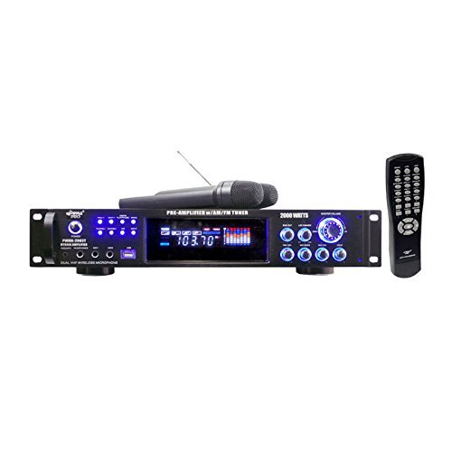 Pyle PWMA2003T 2000 Watts Hybrid Pre-Amplifier W/AM-FM Tuner/USB/Dual Wireless Mic by Pyle