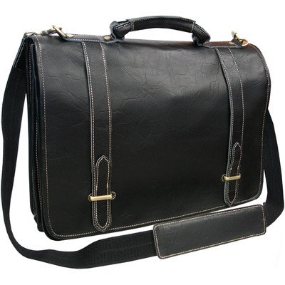 AmeriLeather Traditional Double Slip-in Executive Briefcase (Black)