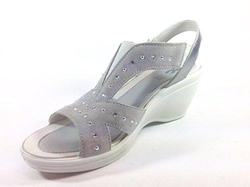 Zapatos Mujer Sandalias de piel con zeppa ergonómico Made in Italy 32911 gris