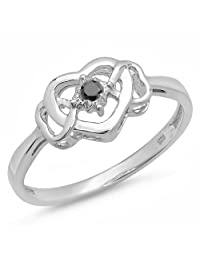 0.05 Carat (ctw) Sterling Silver Black Diamond Solitaire Promise 3 Heart Infinity Love Engagement Ring