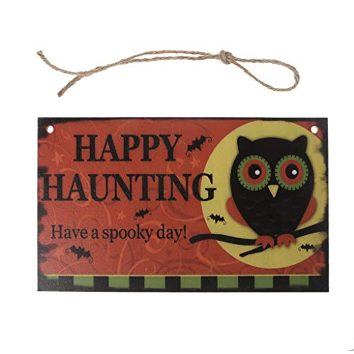 RingBuu Happy Halloween Owl, Wooden, Fall Hanging Plaque Board, Indoor and Outdoor, Halloween Hanging Door Decorations and Wall Signs, for Home, School, Office, Party Props -
