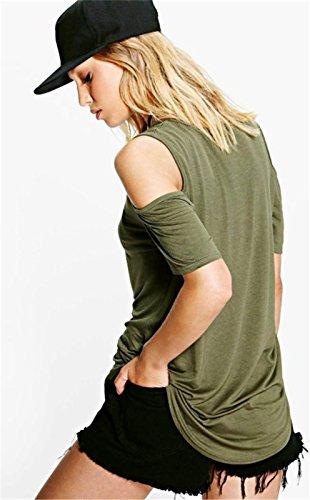 Moda Abertura Cold Open Shoulder Hombros al Descubiertos Aire Manga Corta T-Shirt Camiseta Playera Tee Top Ejército Verde