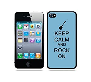 Keep Calm And Rock On Aqua - Protective Designer WHITE Case - Fits iPhone 4 / 4S / 4G