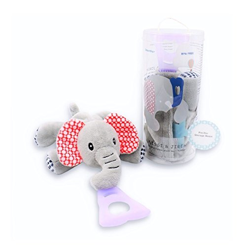 4 in 1 Pacifier holder, Pacifier case, Silicone teether, Visual stimulation, Elephant NISSI & JIREH ID-PO1112A