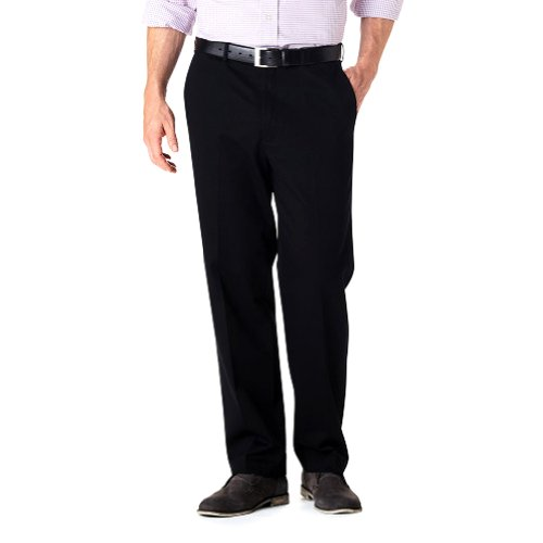 - Haggar Big Mens No-Iron Flat Front Casual Pant BLACK (Black 42W x 34L)