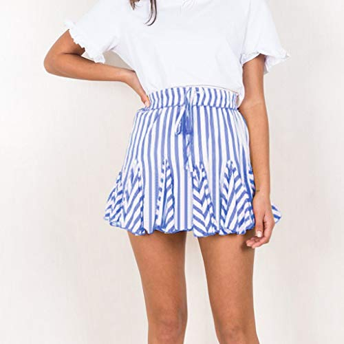 Copercn Women's Ladies Fresh Simple Striped Self-tie Band Puffy Swing Miniskirt Frill Hip Skirt Flare Skirt Summer Refreshing Sweet Student Skirt