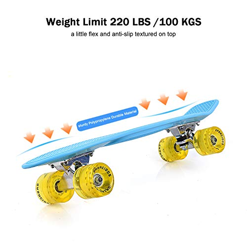 (GASACIODS 22 Inch Mini Cruiser Penny Skateboard Complete Plastic Retro Board with Bendable Deck and Smooth PU Casters for Kids Youths Beginners, 220 Ibs.)