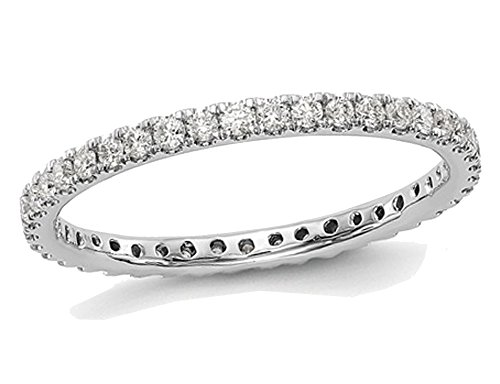 Ladies 1/2 Carat (ctw Color H-I, I1-I2) Diamond Eternity Wedding Band in 14K White Gold ()