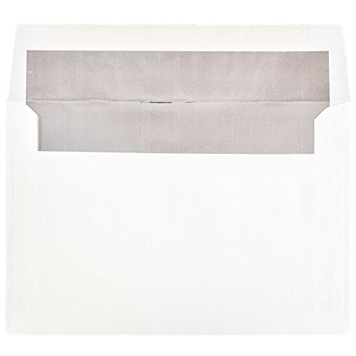 JAM Paper A9 Foil lined Invitation Envelopes - 5 3/4 x 8 3/4 - White with Silver Foil Lining - 50/pack